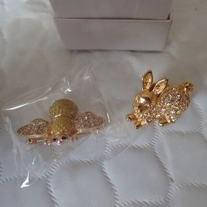 2 (Two) Brooch Tack Pins Bumble Bee & Bunny Rabbit